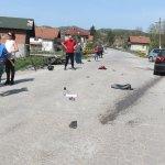 FOTO: Sudar motora i automobila u Tojšićima