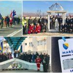 Učesnici Marša mira 'Srebrenica – Vukovar' u Kalesiji: Zastave BiH i Hrvatske u Memorijalnom centru i na šehidskom spomen-obilježju u centru Kalesije